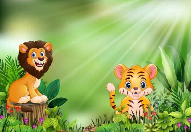 Cartone animato della scena della natura con un leone in piedi sul