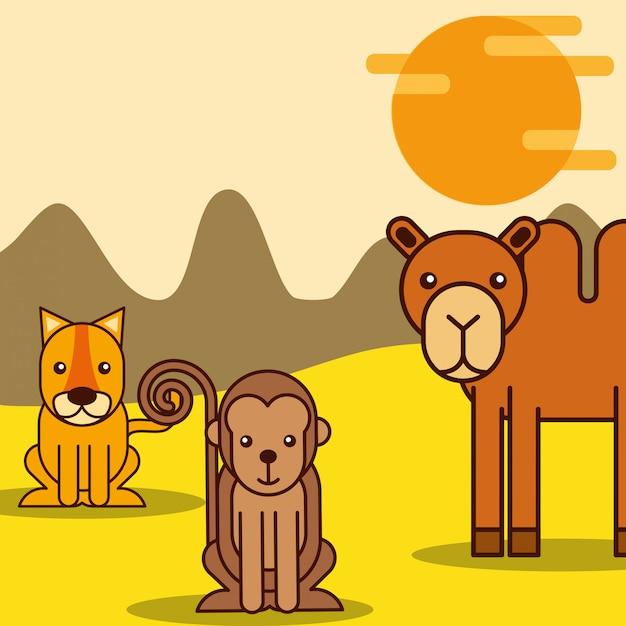 Cartone animato di animali safari Vettore Premium