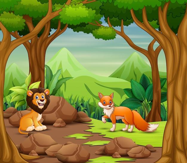 Cartone animato di animali selvatici che vivono nella foresta Vettore Premium