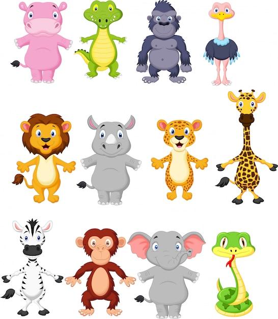 Cartone animato di animali selvatici Vettore Premium