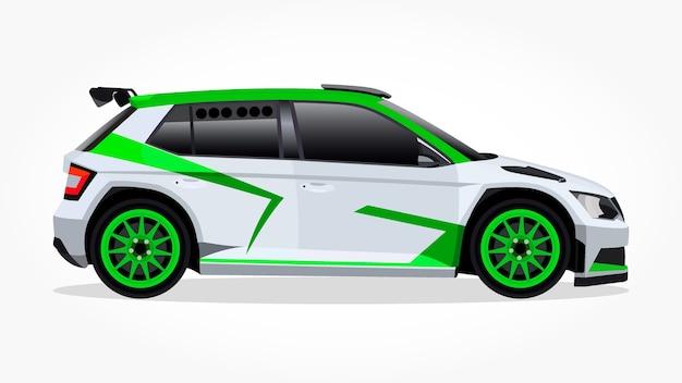 Cartone animato di auto da corsa bianca hatchback verde