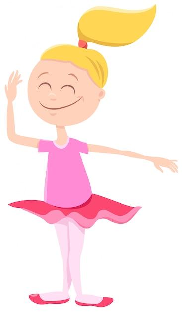 Cartone animato di ballerina girl character Vettore Premium
