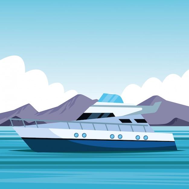 Cartone animato di barca Vettore Premium