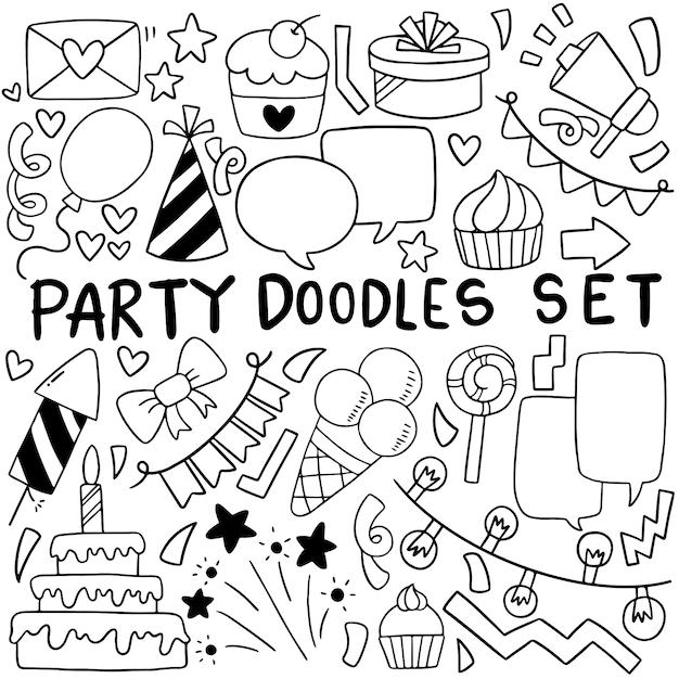 Cartone animato di buon compleanno doodle festa disegnata a mano Vettore Premium