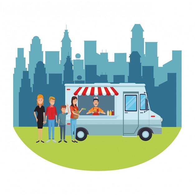 Cartone animato di camion di cibo Vettore Premium