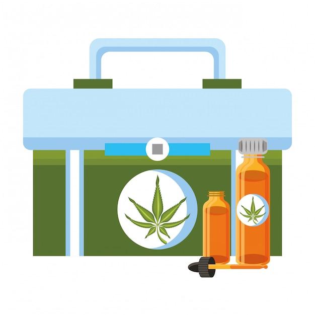 Cartone animato di canapa martihuana sativa alla cannabis Vettore Premium