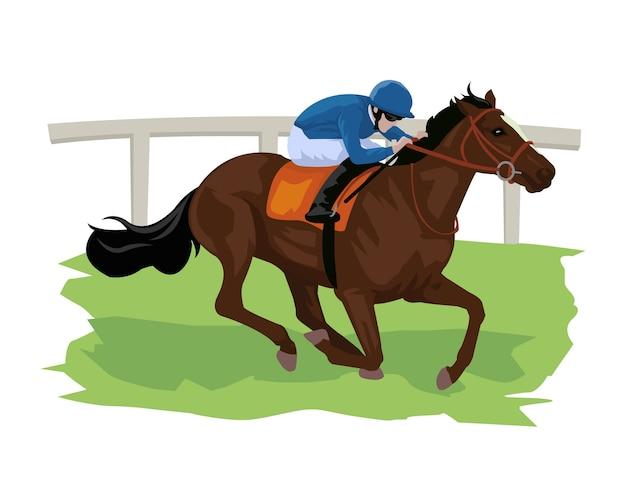 Cartone animato di cavallo con fantino nella corsa di cavalli