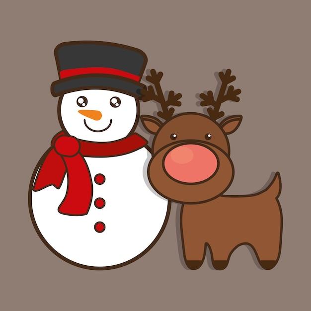 Cartone animato di cervi renne pupazzo neve scaricare
