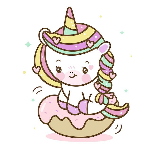 Cartone animato di ciambella unicorno kawaii Vettore Premium