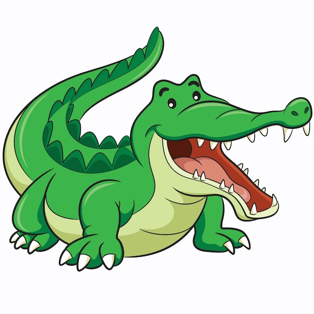 Cartone animato di coccodrillo Vettore Premium