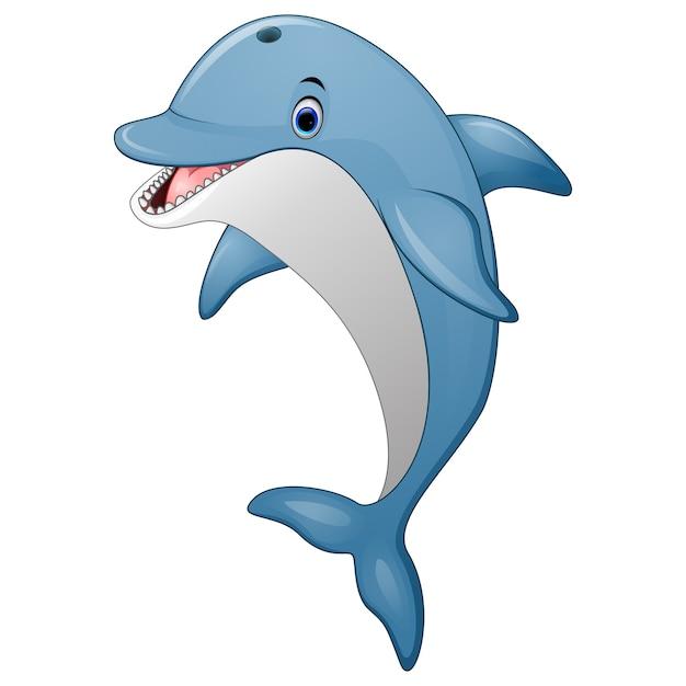 Cartone animato di delfino in piedi Vettore Premium
