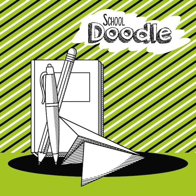 Cartone animato di doodle di scuola Vettore Premium