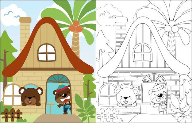 Cartone animato di due simpatici orsi in dolce casa Vettore Premium