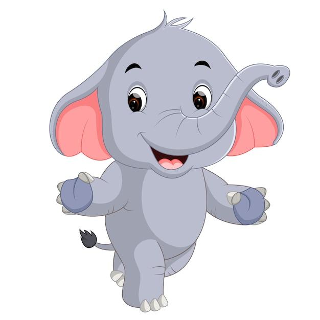 Cartone animato di elefanti carino scaricare vettori premium