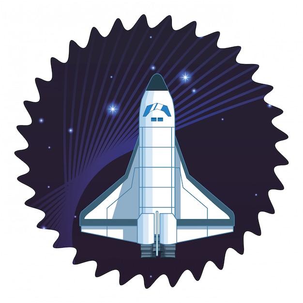 Cartone animato di esplorazione dello spazio e pianeti Vettore Premium