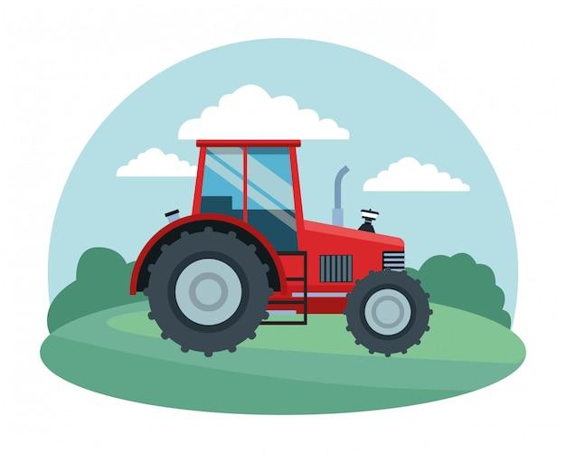Cartone animato di fattoria, animali e contadino Vettore Premium