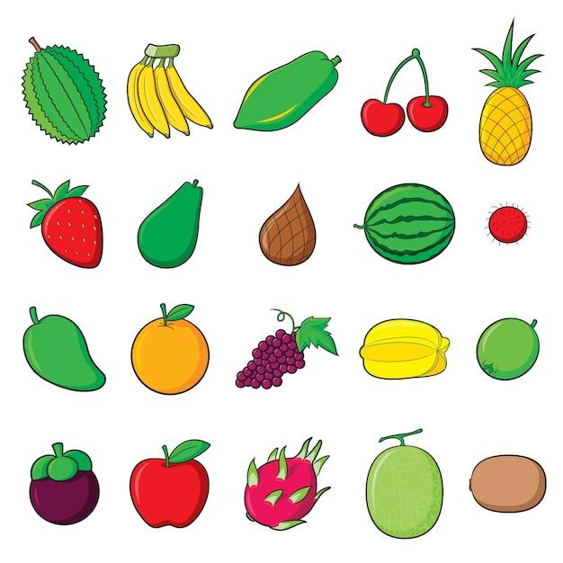 Cartone animato di frutta Vettore Premium