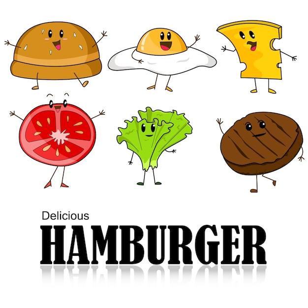 Cartone animato di hamburger pane carne fetta