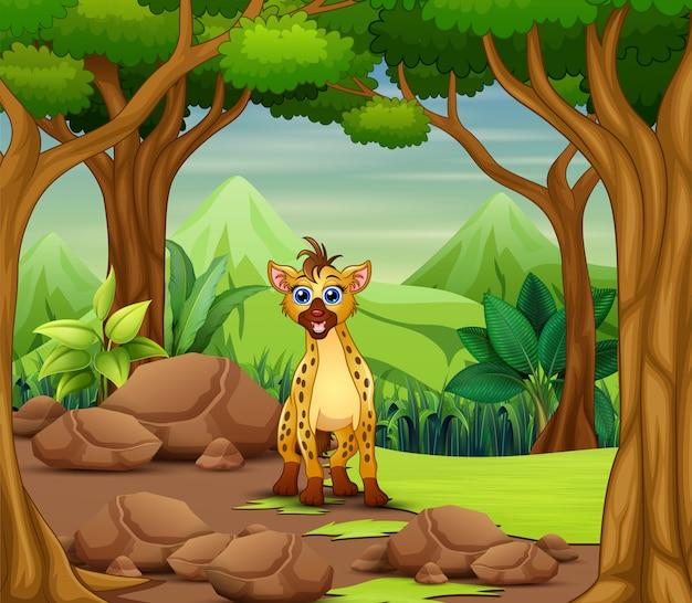 Cartone animato di iena che vive nella foresta Vettore Premium