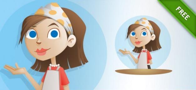 Cartone animato di lavoro casalinga posa vettore