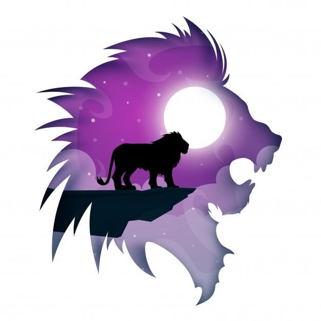 Cartone animato di leone di carta. paesaggio notturno Vettore Premium