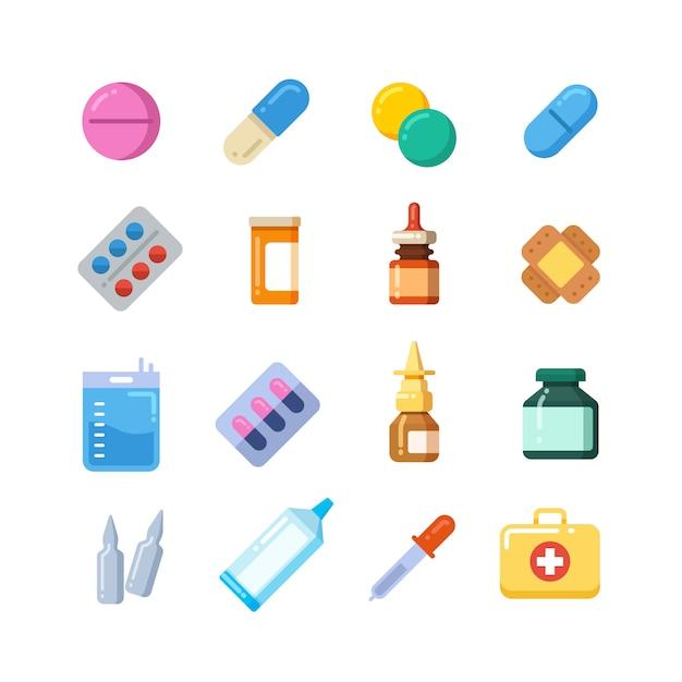 Cartone animato di medicina Vettore Premium