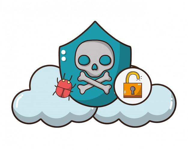 Cartone animato di minaccia di cybersecurity Vettore Premium