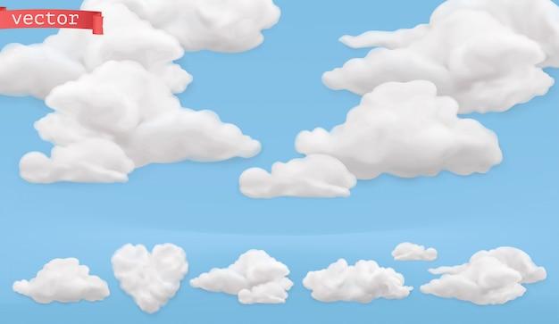 Cartone animato di nuvole. cielo, insieme realistico dell'icona di vettore 3d Vettore Premium