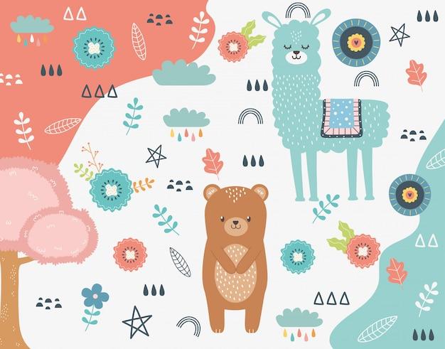Cartone animato di orso e lama Vettore Premium