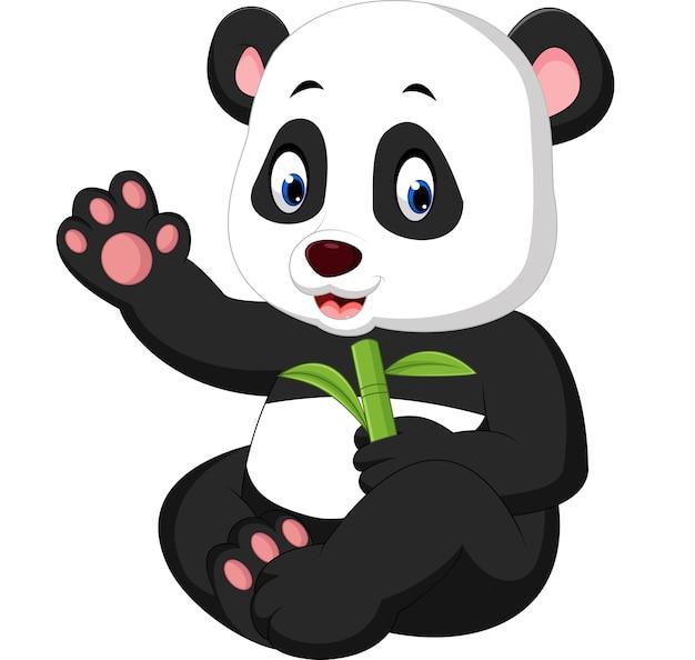 Cartone animato di panda del bambino Vettore Premium