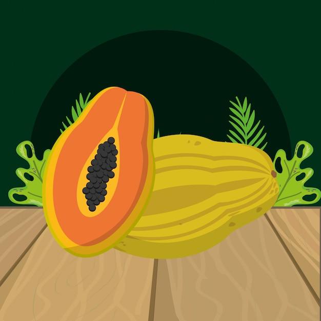 Cartone animato di papaia frutta fresca Vettore Premium
