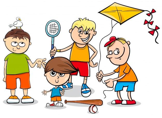 Cartone animato di personaggi bambini ragazzi
