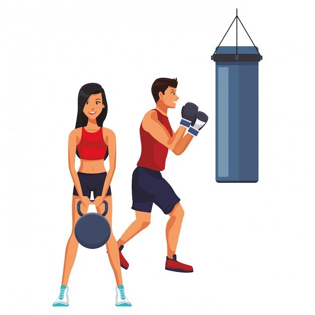Cartone animato di persone fitness Vettore Premium