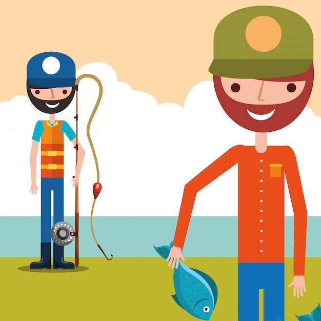 Cartone animato di pesca del pescatore Vettore Premium