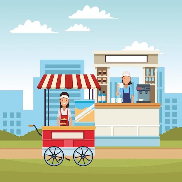 Cartone animato di pop corn cart Vettore Premium