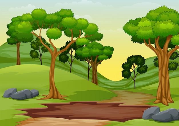 Cartone animato di pozza di fango nel mezzo della strada per la foresta Vettore Premium