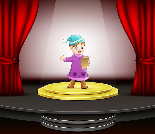 Cartone animato di ragazzino che canta sul palco Vettore Premium