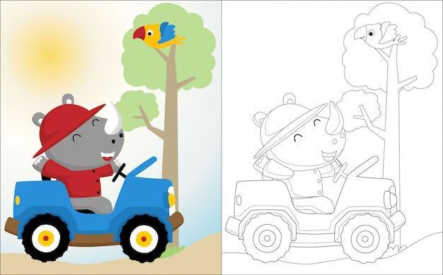 Cartone animato di rinoceronte sull'automobile Vettore Premium