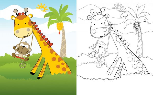 Cartone animato di scimmia gioca altalena sul collo della giraffa Vettore Premium