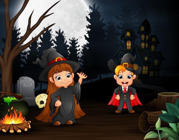 Cartone animato di strega e vampiro all aperto nella notte