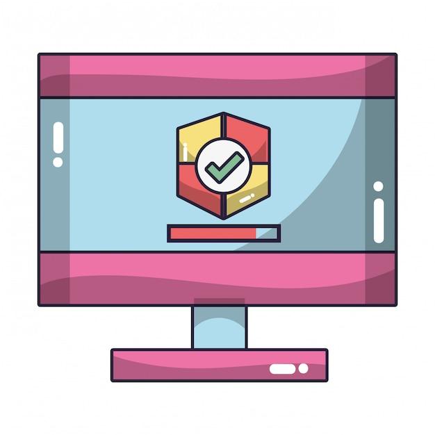 Cartone animato di tecnologia Vettore Premium