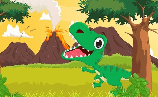 Cartone animato di tirannosauro felice con lo sfondo preistorico
