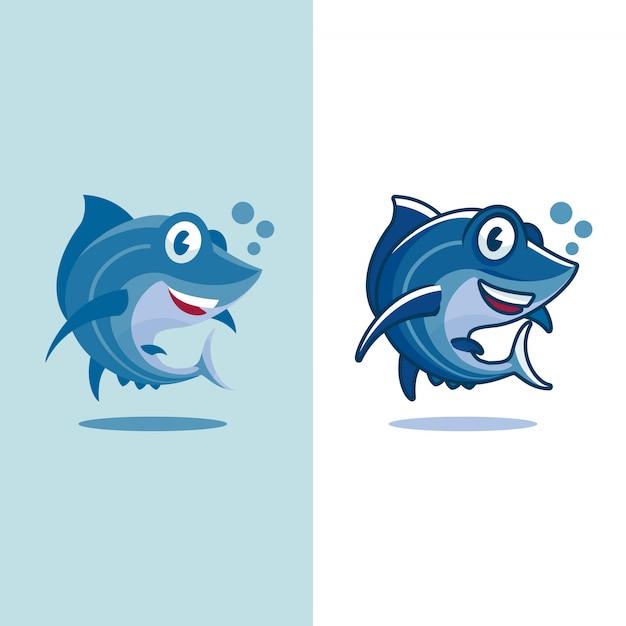 Cartone animato di tonno in due diversi tipi di design piatto e non piatto Vettore Premium