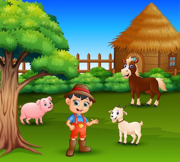 Cartone animato di un contadino nella sua fattoria con un gruppo di animali da fattoria Vettore Premium