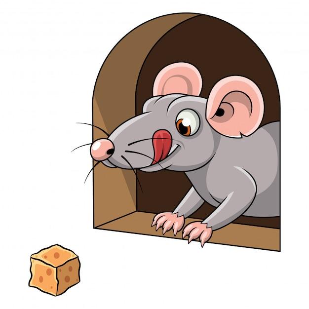 Cartone animato di un topo e formaggio in buca scaricare vettori
