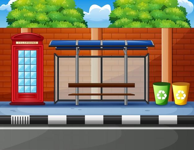 Cartone animato di una fermata dell'autobus Vettore Premium