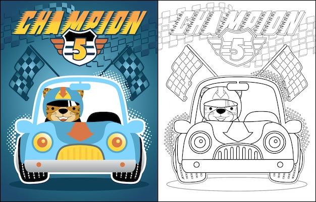 Cartone animato di vettore della macchina da corsa Vettore Premium