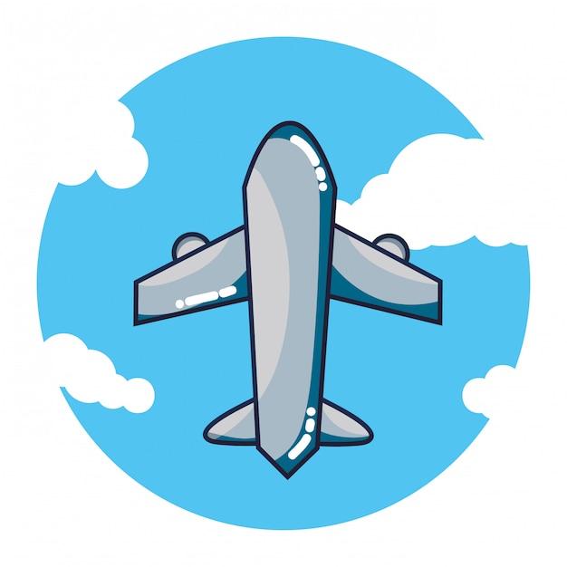 Cartone animato di volo dellaeroplano scaricare vettori premium