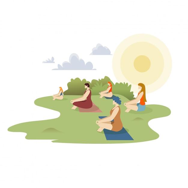 Cartone animato di yoga all'aperto Vettore Premium