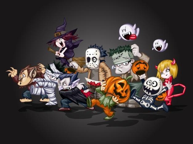 Cartone animato diavolo halloween caratteri vettore